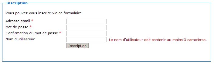 Erreur de validation du formulaire