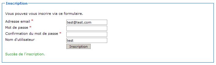 Succès de la validation du formulaire
