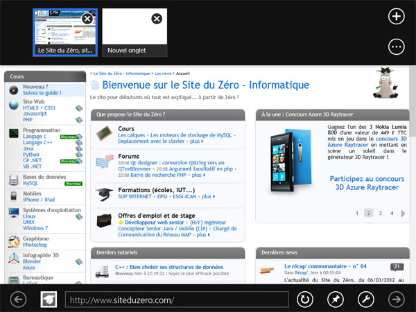IE Metro, l'application permettant de surfer sur le Web