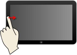 Faire apparaître le panneau latéral avec un écran tactile.