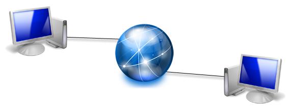 Deux ordinateurs connectés à Internet
