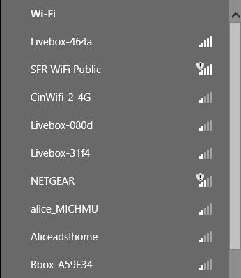 Liste des réseaux disponibles