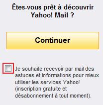 Case à décocher pour ne pas recevoir les pubs de Yahoo