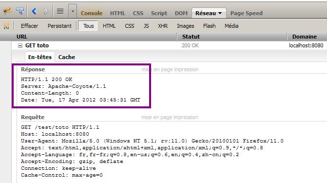 En-têtes de la réponse HTTP avec Firebug