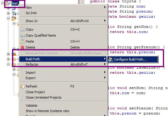 Configuration du build path d'un projet sous Eclipse - Étape 1