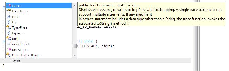 Auto-complétion de la fonction trace()