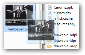 On se contente de glisser-déposer l'image dans le répertoire voulu et Android fera le reste