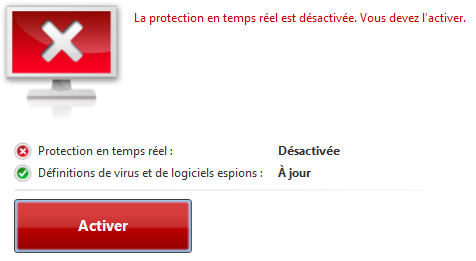 Bouton d'activation de Defender