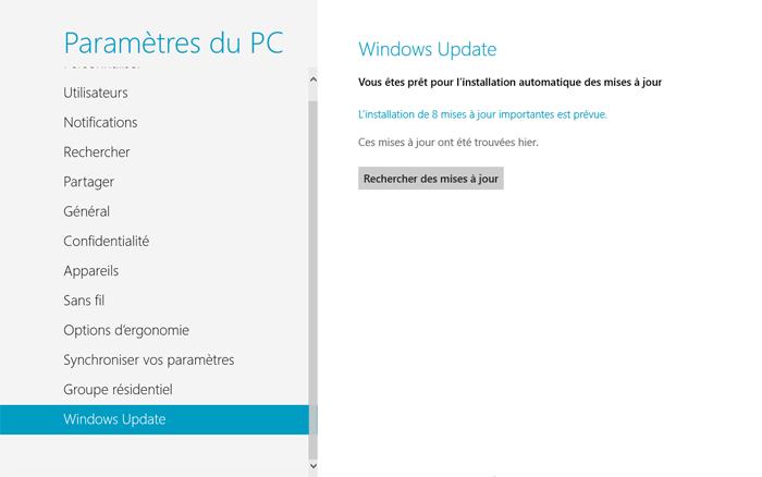 Windows Update dans le panneau de configuration Metro