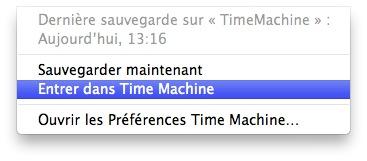 Entrer dans Time Machine