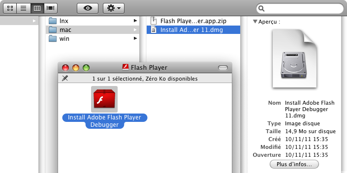 Installation de Flash Player Debugger