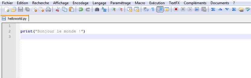 Une ligne de code dans Notepad++