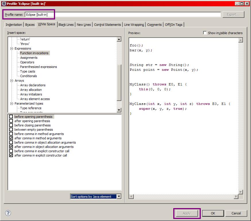 Options de formatage du code.