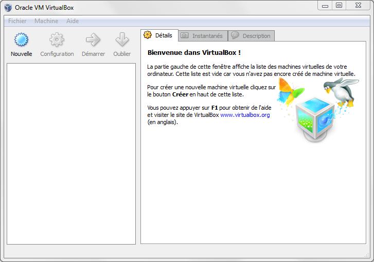 L'écran d'accueil de VirtualBox
