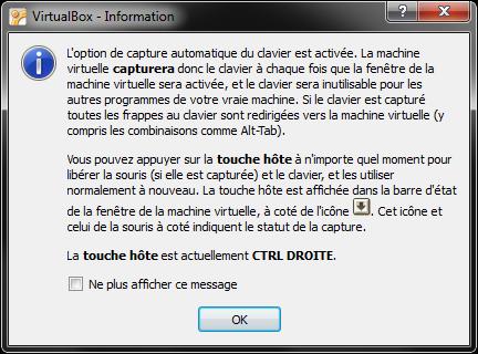 VirtualBox vous informe quelle est la touche spéciale
