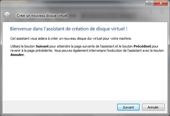 Assistant de création d'un nouveau disque dur virtuel