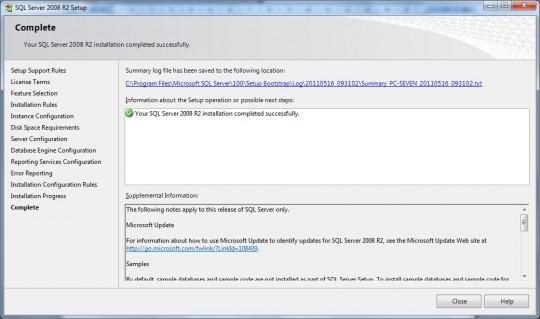 SQL Server 2008 R2 est installé !