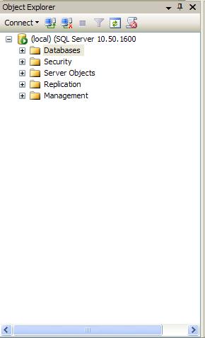Le menu Object Explorer