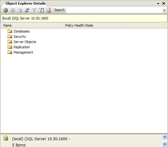 La fenêtre Object Explorer Details