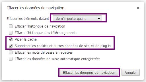 Suppression des données sous Chrome