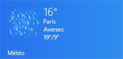 Tuile de l'application Météo. Bien sûr, il pleut à Paris !