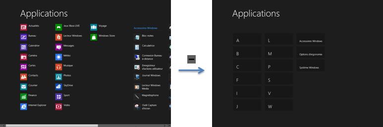 Le zoom sémantique du menu Toutes les applications.
