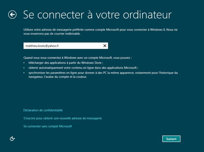 Utiliser une adresse de messagerie pour se connecter à l'ordinateur