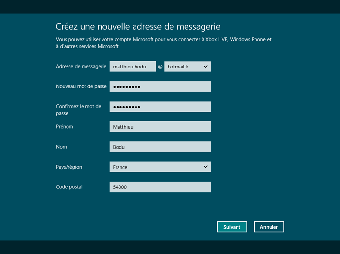 Création d'une nouvelle adresse de messagerie