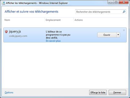 Internet Explorer envoie une alerte lors du téléchargement