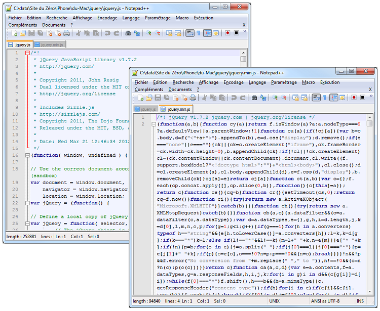 À gauche le code avec espaces, tabulations et commentaires, à droite sans