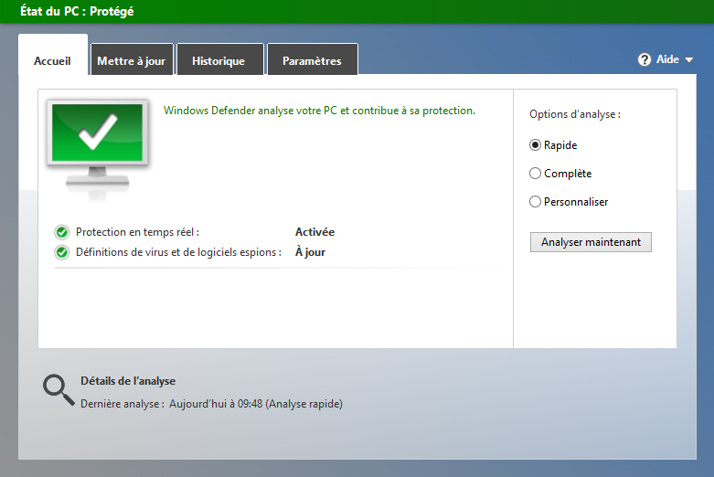 Interface de Defender