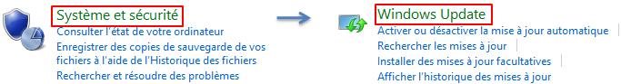 Ouverture de Windows Update dans le panneau de configuration côté Bureau