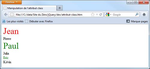 Le code précédent exécuté dans Firefox