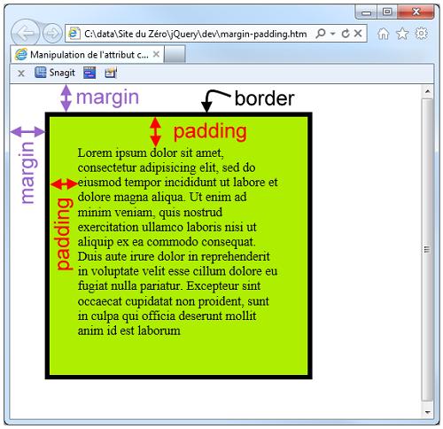 Une balise <div> avec padding, margin et border
