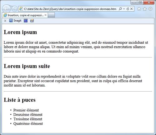 La page HTML avant l'intervention du code jQuery