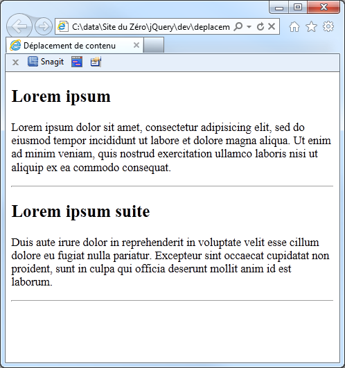 Le document, avant toute intervention du code jQuery