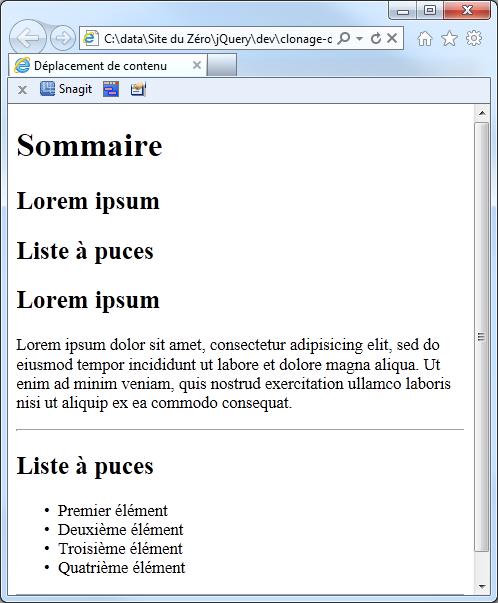 Le sommaire a été créé automatiquement grâce à jQuery