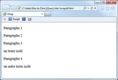 Le code précédent exécuté dans Internet Explorer