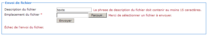 Envoi avec une description trop courte et pas de fichier