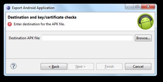 Choisissez l'emplacement de l'APK