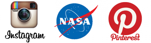 Logos d'Instagram, de la NASA et de Pinterest