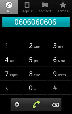 Le composeur téléphonique est lancé avec le numéro souhaité