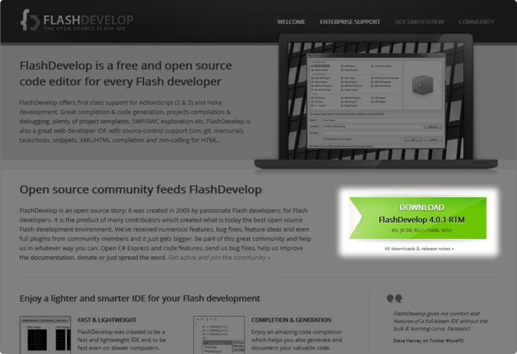 Téléchargement de FlashDevelop