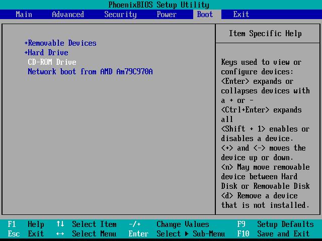 Changement de l'ordre de boot dans le menu du BIOS