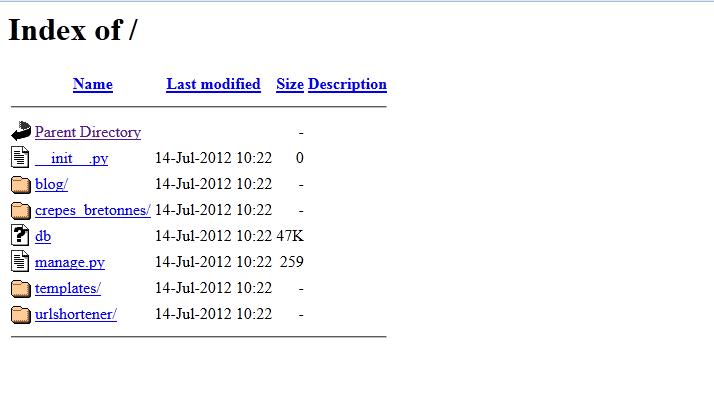 Une liste de fichiers Python que nous ne pouvons que télécharger