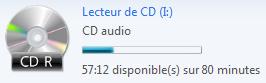 Espace occupé sur le CD audio à graver