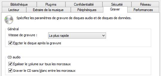 Options supplémentaires de gravure de CD audio