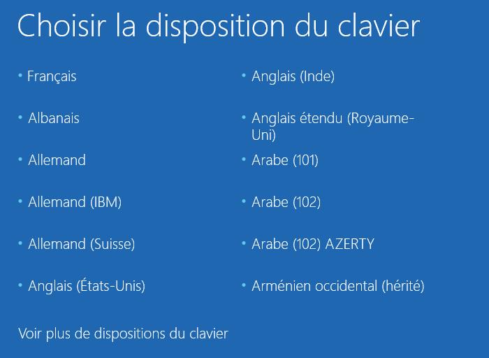 Choix de langue du clavier