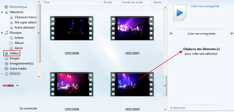 Les vidéos avec le lecteur Windows Media
