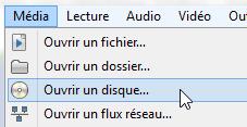 Ouvrir un disque avec VLC